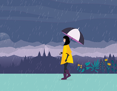 Walk under the rain - Character animation