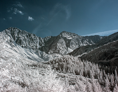 Mountains dressed in infrared light