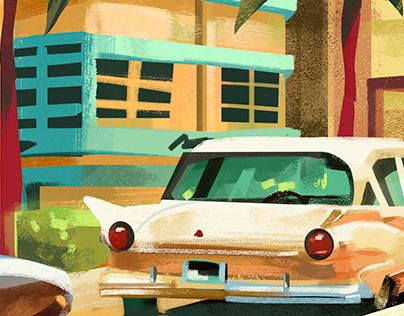 Ocean Drive- postcard design