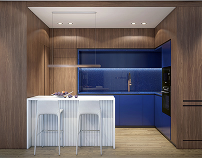 Blue Kitchen contemporary apartment