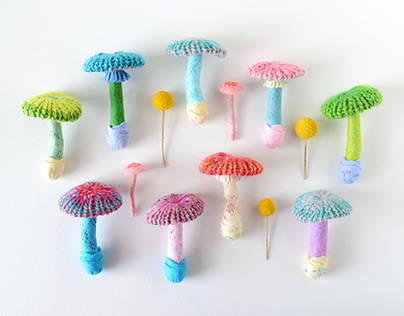 Knitted Mushroom Brooches
