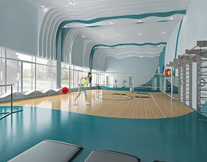 Interior Design. Therapeutic gymnastics room for the s
