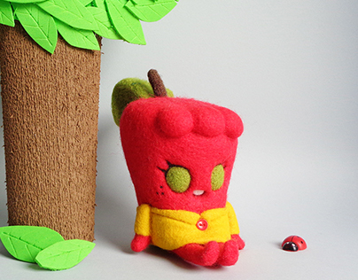 """Appy"", a sweet and quiet apple girl Art Toy"