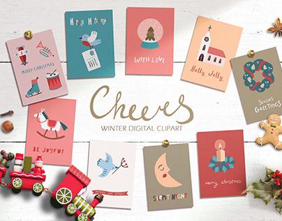 CHEERS   Winter clipart set