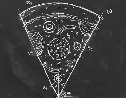 Chalk drawing pizza.