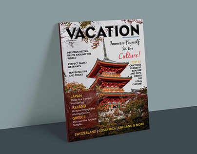 Vacation Magazine Cover, Contents, & Spreads