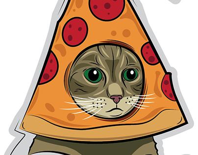 Pizza Cat Style Club Sticker