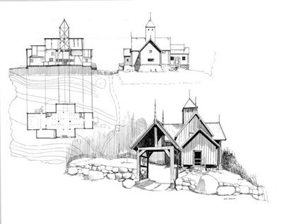Norwegian Stave Churches _ Drawings