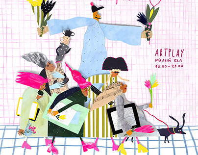 "collage illustration poster for art market "" LAMPA"""