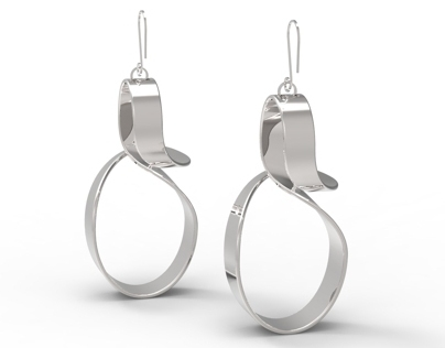 Curly Girl polished silver earrings