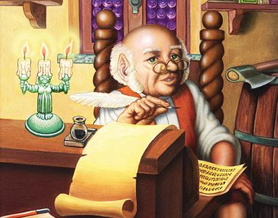 Bilbo Baggins writes his memories. John R. R. Tolkien