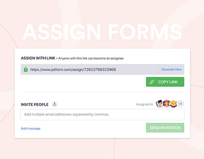 JotForm Assign Forms / Share Panel