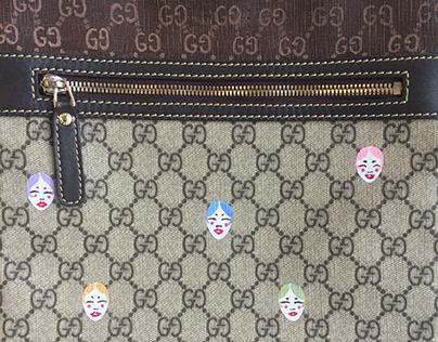 """""""3 Ring"""": Hand Painted Gucci Mail Bag"""