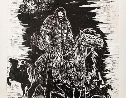 """Woodcut print """"Horseman"""""""