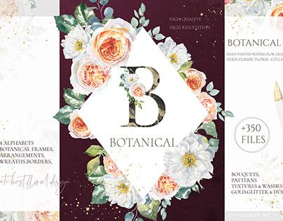 Botanical Watercolor Floral set