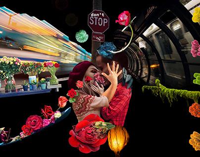 Stad na bPóg/Kiss Stop/Stanica Poljupca, digit. collage