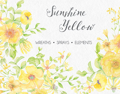 Sunshine yellow watercolor wreaths and sprays