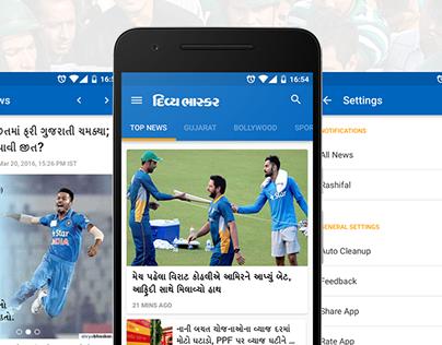 Conceptual Divya Bhaskar App Redesign in Material UI
