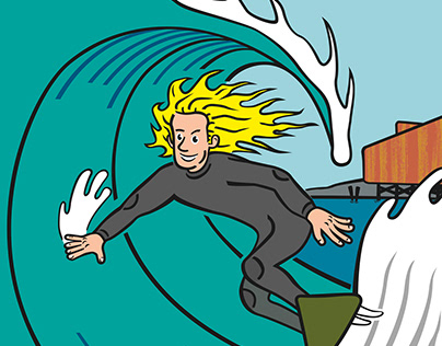 Malibu Surfing Illustration