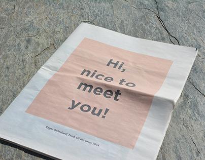 Hi, nice to meet you! Self-promotion