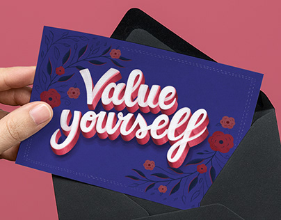 Value Yourself — Lettering Greeting Card