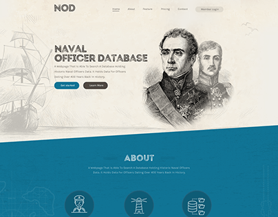 Landing page for Naval Officers Database