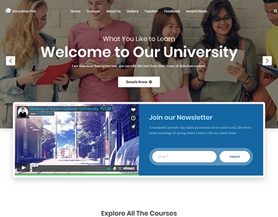 University Landing Page Project