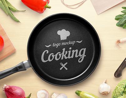 Cooking, restaurant logo mockup