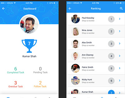 Employee performance mobile app mockup