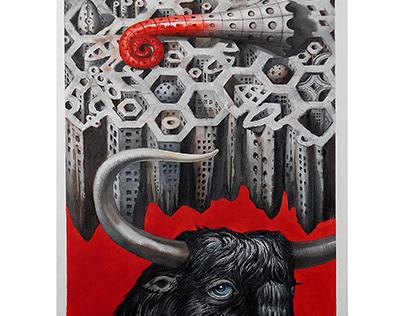 """heavenly bull"" watercolor 2017"