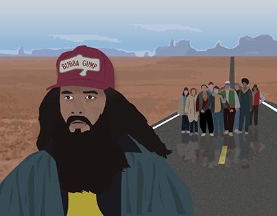 Movie frame illustration (assignment)- Forrest Gump