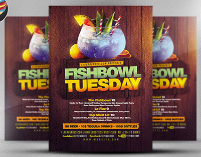 Fish Bowl Tuesday Flyer Template