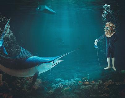 Fencing battle underwater