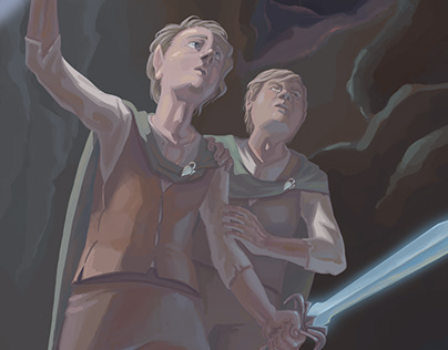 Frodo and Sam at Shelob's Lair