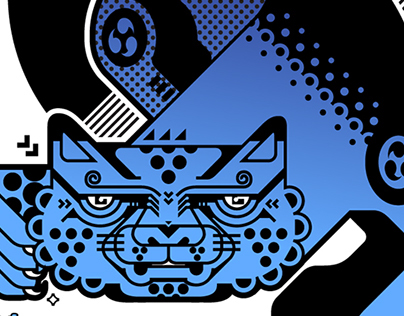 Black Panther (wood block print)