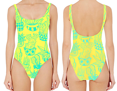 Cacti Print Bathing Suit Design