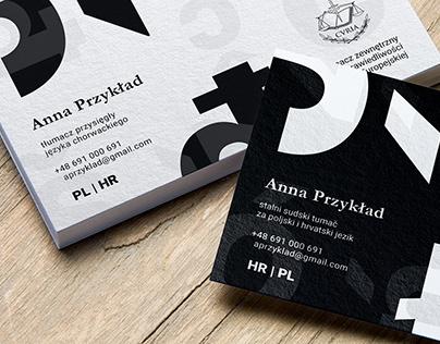 business card for sworn translator