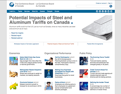 Conference Board of Canada homepage design