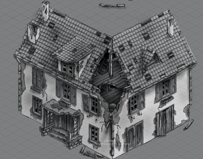 Sketch of building for 3d artist