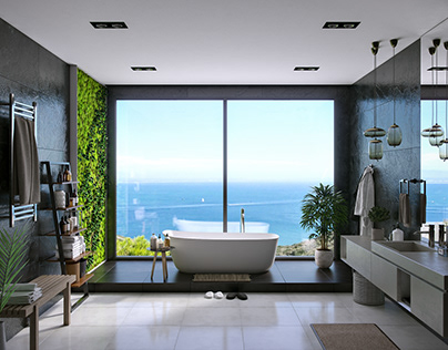 Bathroom with stunning sea view.
