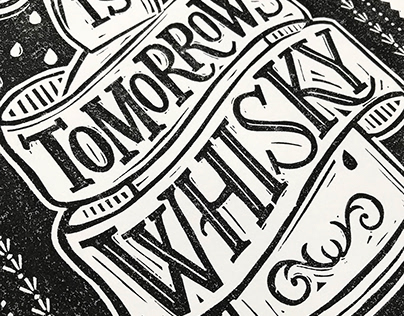 Hand lettered Whisky lino cut print