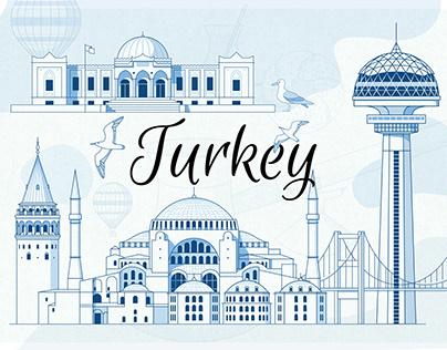 Turkey Landmarks linear illustrations