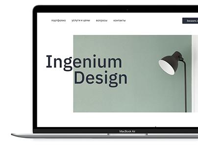 Landing page for the design interior studio