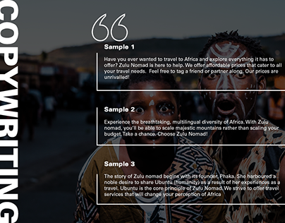 Copywriting samples for Zulu Nomad