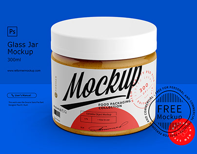 Free Glass Jar Mockup 300ml