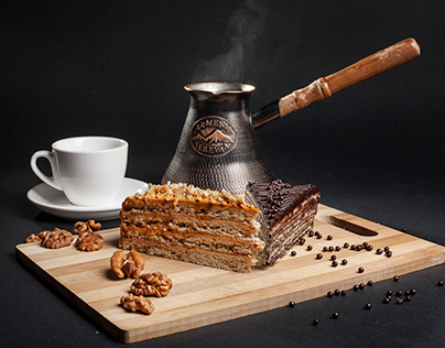 Cake and coffee photography project