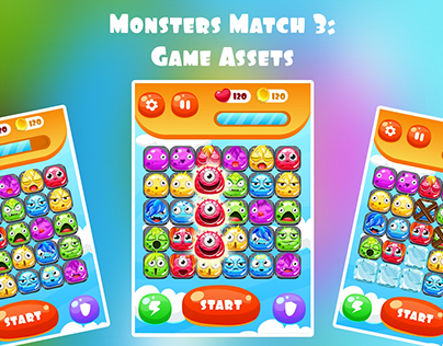 Monsters Match 3: Game Assets