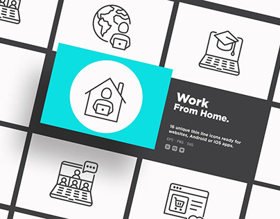 Work From Home | 16 Thin Line Icons