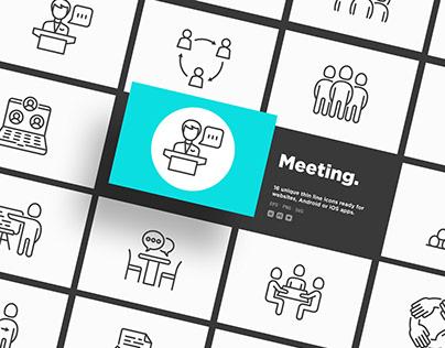 Meeting | 16 Thin Line Icons Set