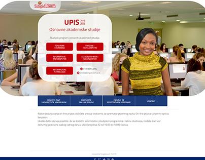 Singidunum University's UPIS (enrolment) website